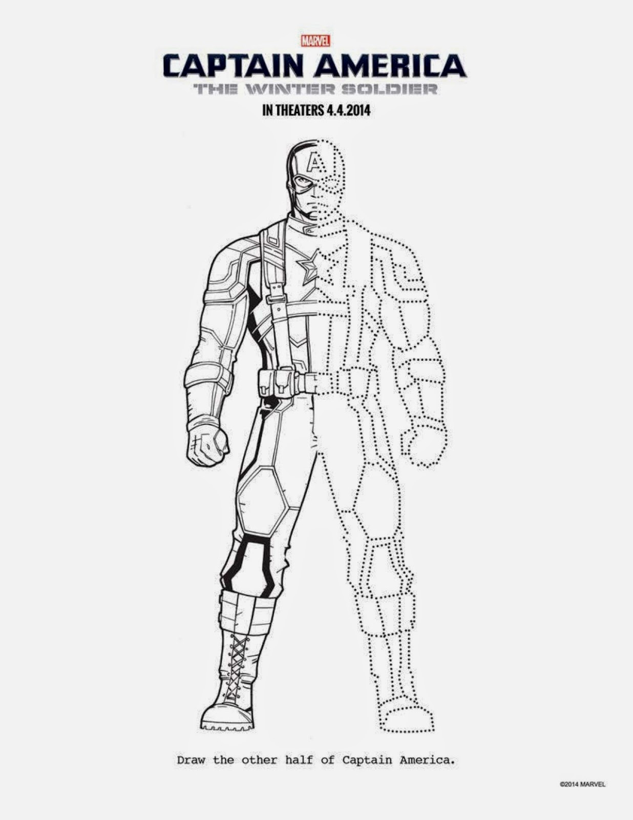 free Captain America activities and coloring sheets, #CaptainAmerica