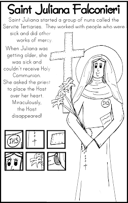 Saint Juliana Falconieri Coloring Page and Hidden Pictures