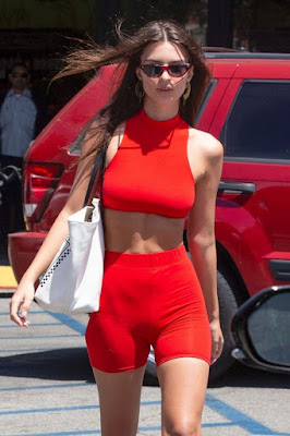 Emily Ratajkowski in Red at a gas station in Los Angeles