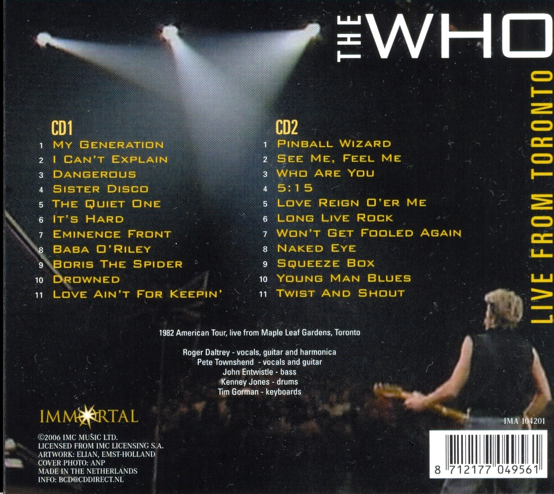 Only Good Song The Who Live From Toronto