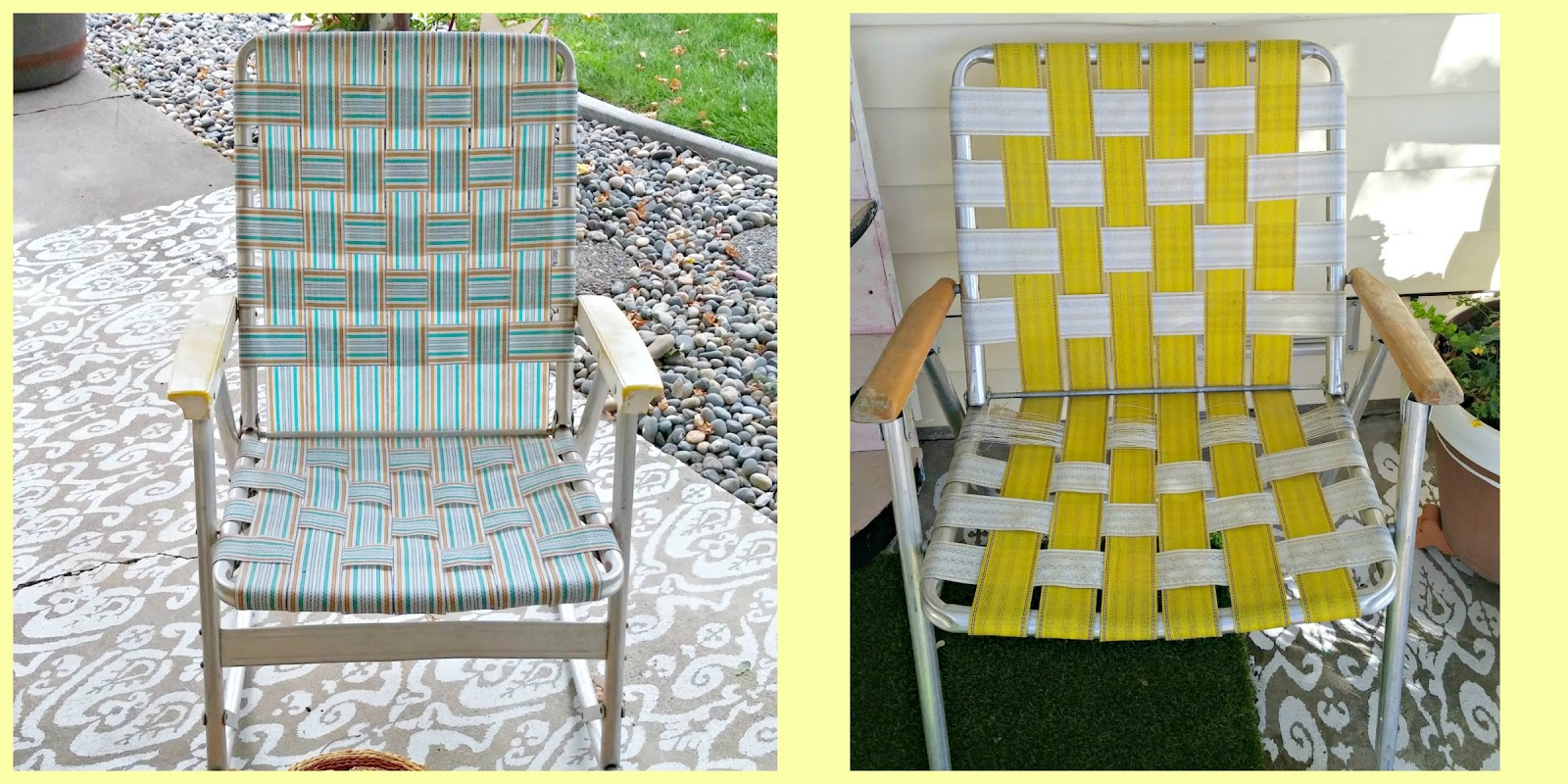I started with the yellow and white one. & Vintage Lawn Chair Makeovers - Weekend Yard Work Series - Little ...