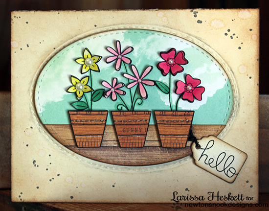 Hello Flower Pot card by Larissa Heskett for Newton's Nook Designs | Versatile Vases