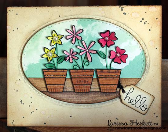 Hello Flower Pot card by Larissa Heskett for Newton's Nook Designs | Versatile Vases