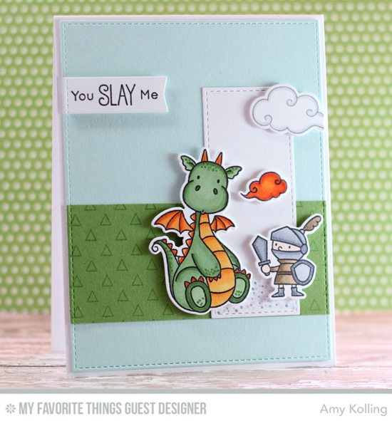 Handmade card from Amy Kolling featuring Birdie Brown Magical Dragons stamp set and Die-namics, Transparent Triangles Background stamp, Essential Cover-Up Vertical and Blueprints 13 Die-namics #mftstamps