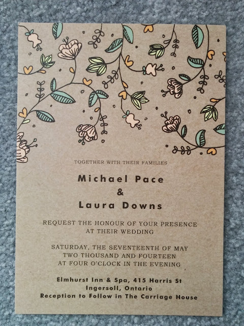 Minted buds and blossom wedding invitation