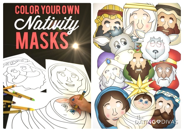 caretas personajes Navidad, plantillas máscaras pesebre, Natividad