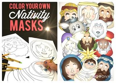 Caretas-Máscaras personajes del pesebre Navidad infantil