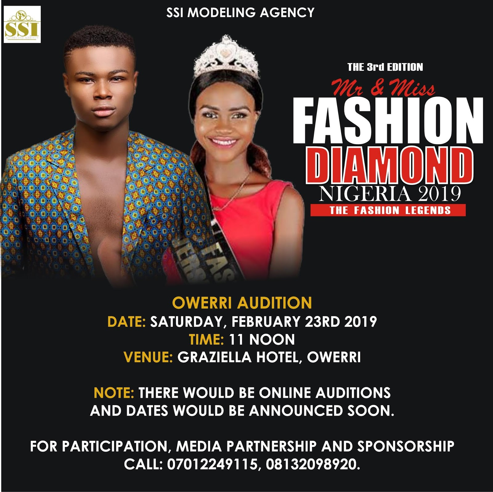 WELCOME TO SSI MODELING AGENCY: MFDN 2019 AUDITION DATE RELEASED