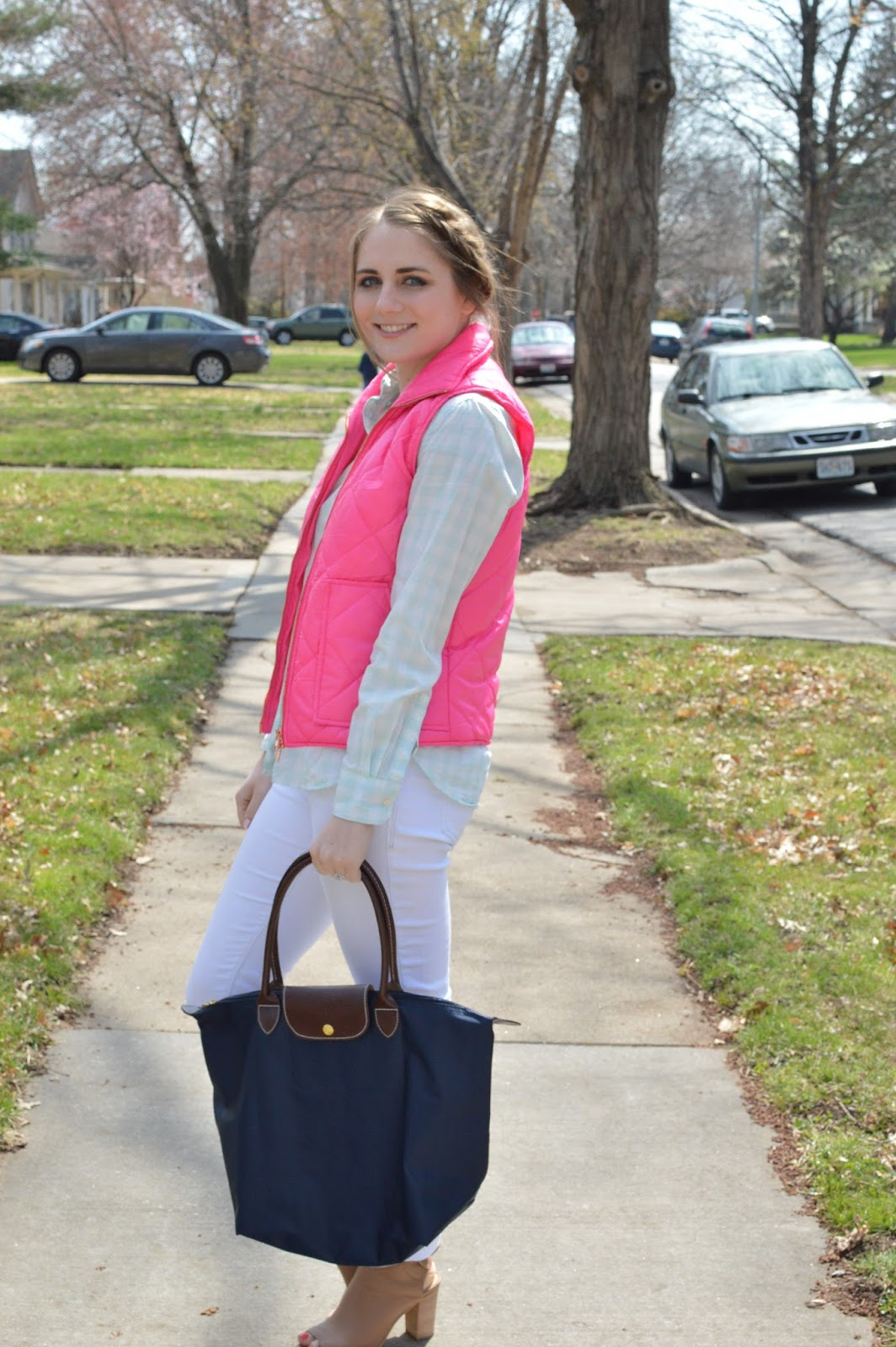 preppy for spring | pink and mint | what to wear with white jeans | pink vest outfit ideas | mint gingham top | preppy outfit ideas | spring looks | spring fashion | street style  | a memory of us