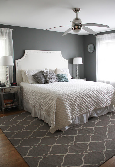 Grey & Metallic Bedroom makeover - Before & After