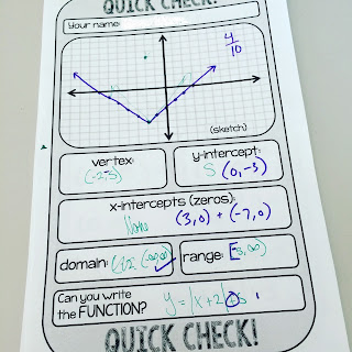 Algebra 2 Quick Check template
