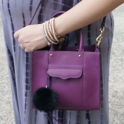 AwayFromTheBlue | Rebecca Minkoff plum purple mini MAB tote bag black faux fur pom pom
