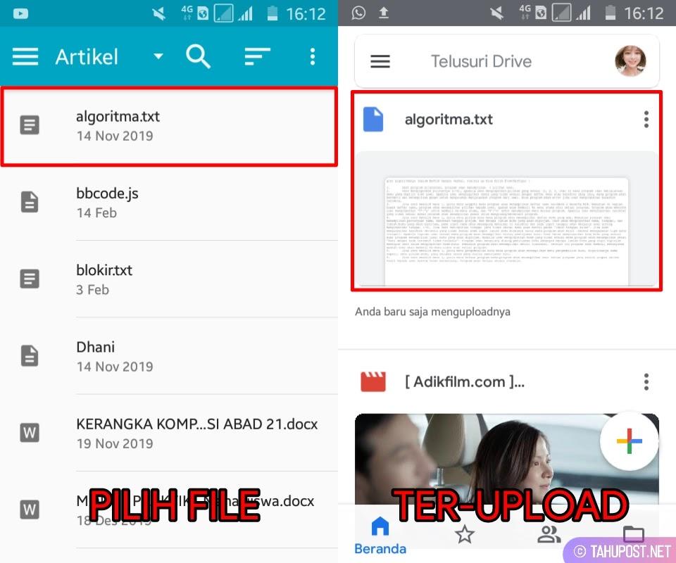 Pilih File - Cara Upload File ke Google Drive