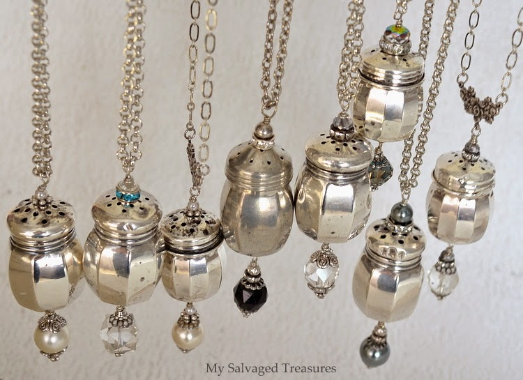 vintage sterling salt and pepper shaker necklaces