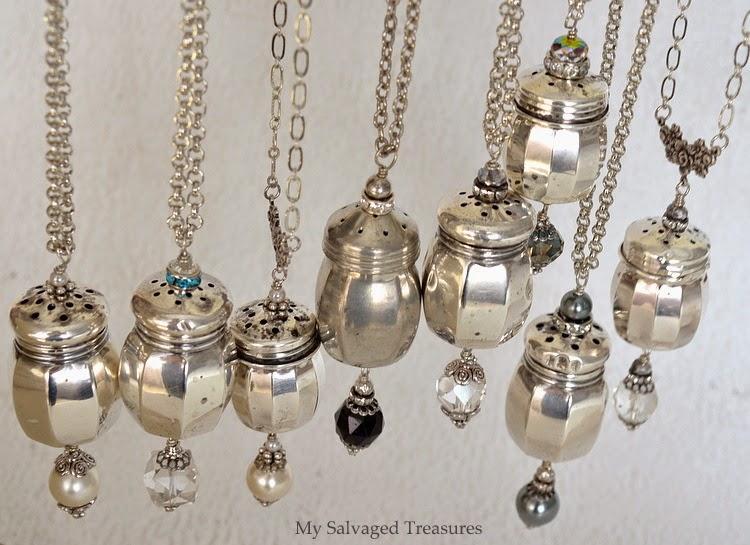 vintage sterling salt and pepper shaker necklaces