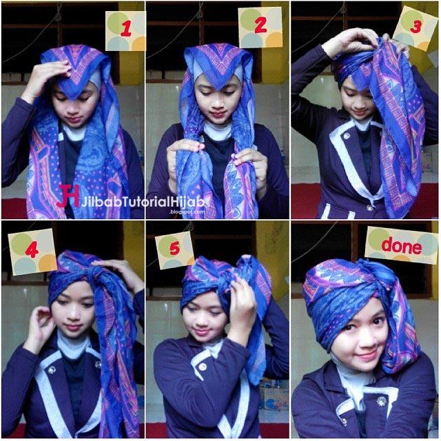 Tutorial Hijab Turban Segi Empat Simple | Jilbab Tutorial
