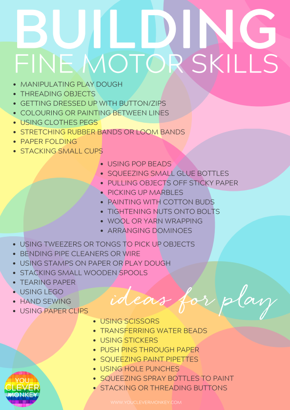 20 simple hands on activities that help build fine motor for Four year old fine motor skills