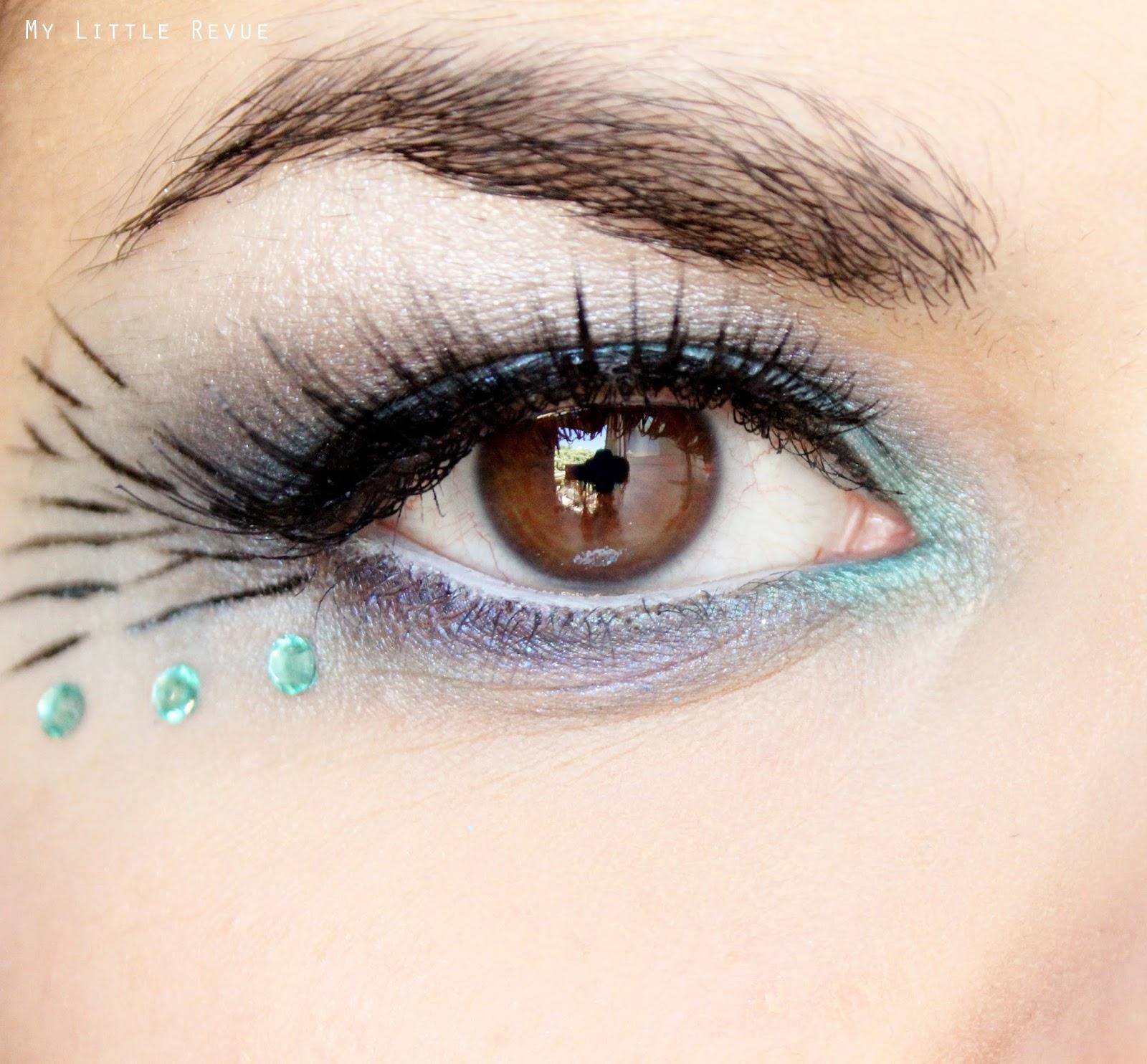 maquillage des yeux turquoise msc inspiration paon avec faux cils