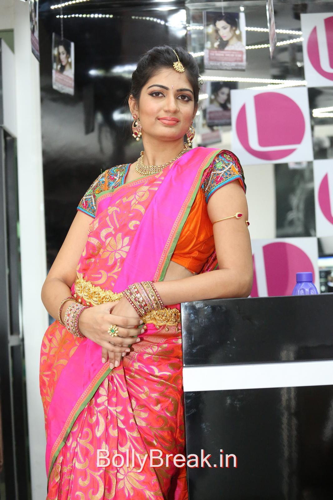 Akanksha Stills in Pink Saree, Akanksha Hot Pics from Bridal Dream Make up At Lakme Salon
