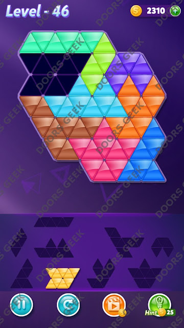 Block! Triangle Puzzle Proficient Level 46 Solution, Cheats, Walkthrough for Android, iPhone, iPad and iPod