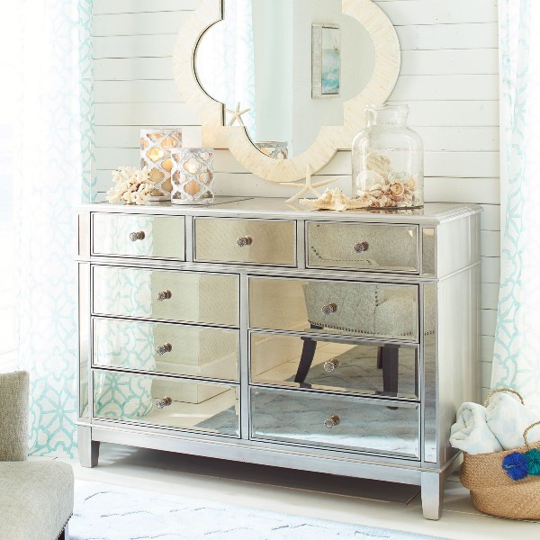 Coastal Interior Design Mirrored Furniture