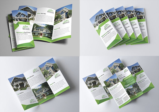 Design of PSD open brochures ready for modification Commercial real estate design
