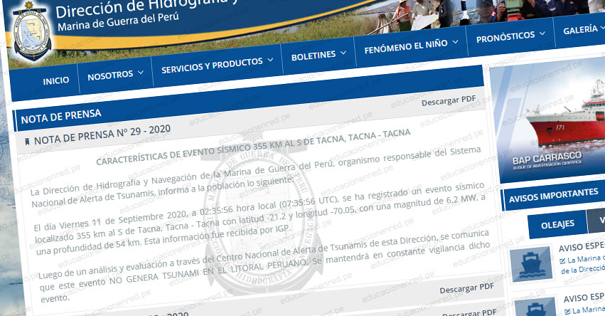 Potente sismo en Chile de Magnitud 6.3 no genera tsunami, informó la Marina de Guerra del Perú - www.dhn.mil.pe