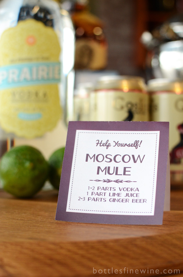 moscow mule cocktail recipe printable sign