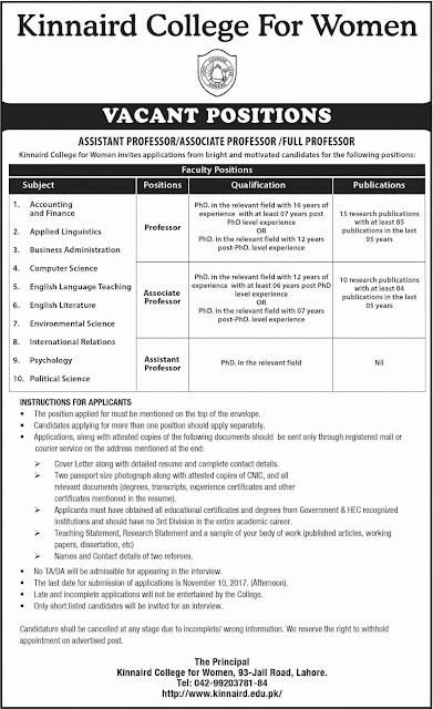 Kinnaird College for Women Lahore Jobs 2017
