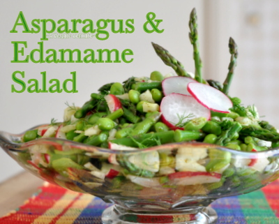 Asparagus & Edamame Salad, another low-carb summer salad ♥ AVeggieVenture.com. Vegan. Gluten Free. Whole30 Friendly. Great Color & Crunch.