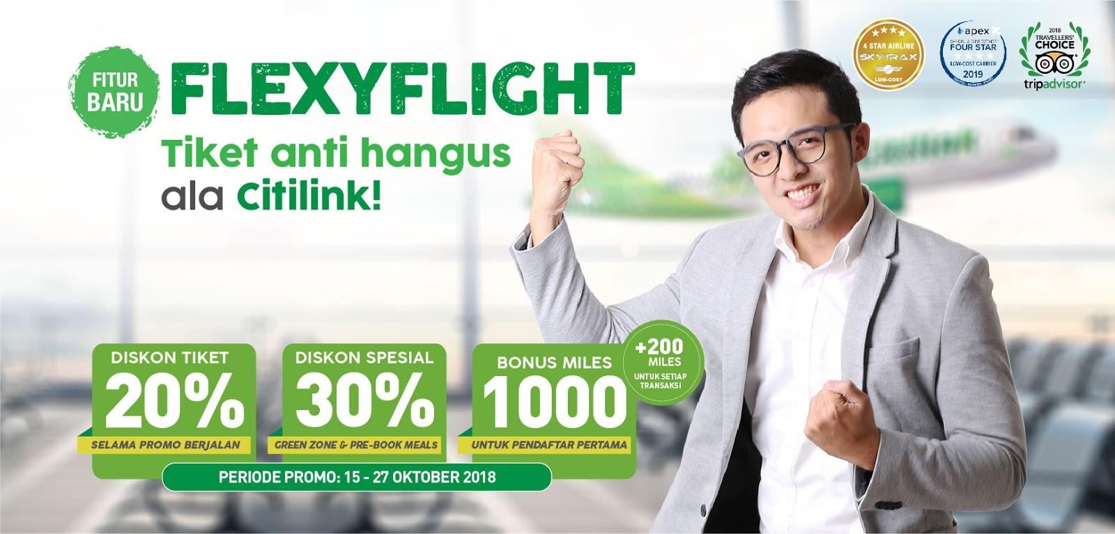 Citilink - Promo Setu Terbang Pakai FlexyFlight + Diskon Tiket 20% (s.d 27 Otk 2018)