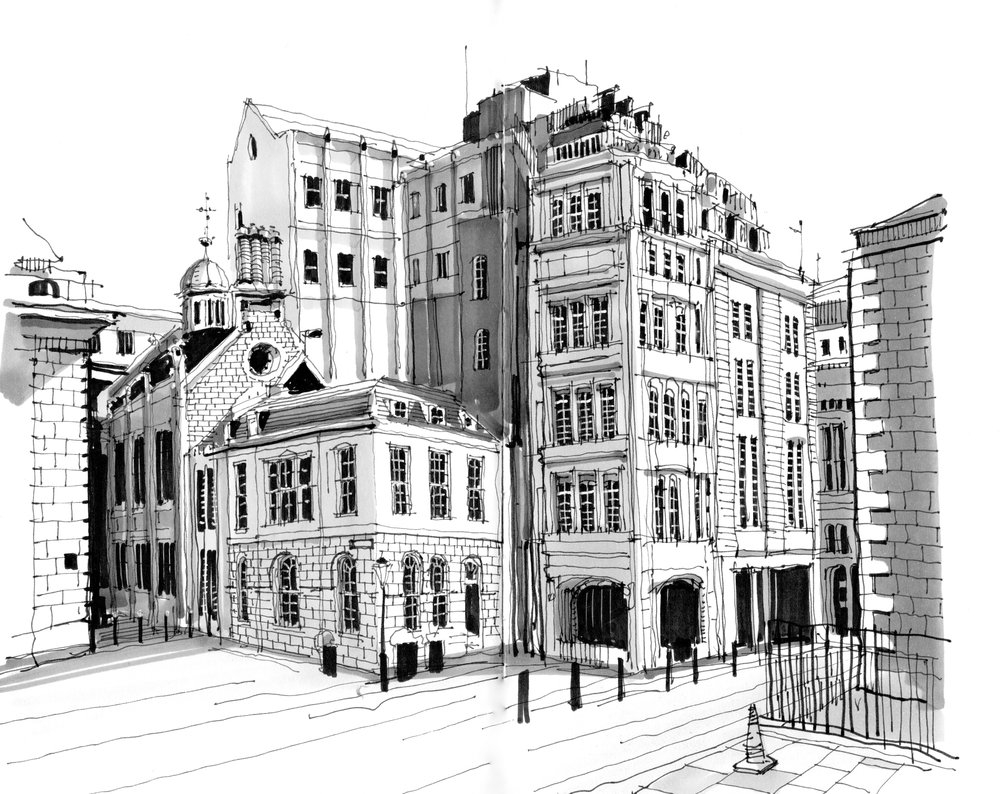 01-Guildhall-Phil-Dean-The-Shoreditch-Sketcher-Travelling-around-Europe-www-designstack-co