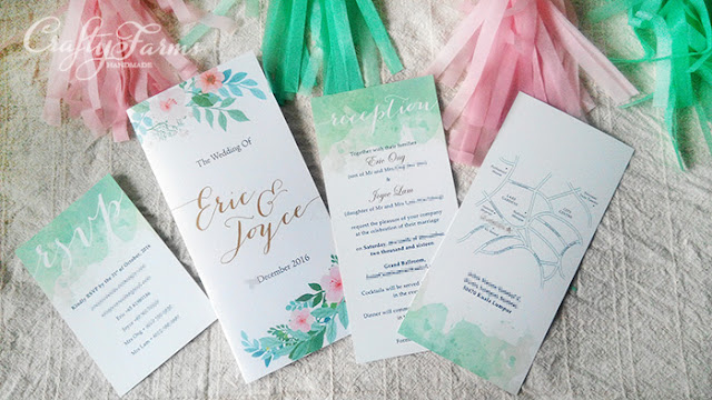 Pastel Wedding Ceremony and Wedding Dinner Invitation Cards