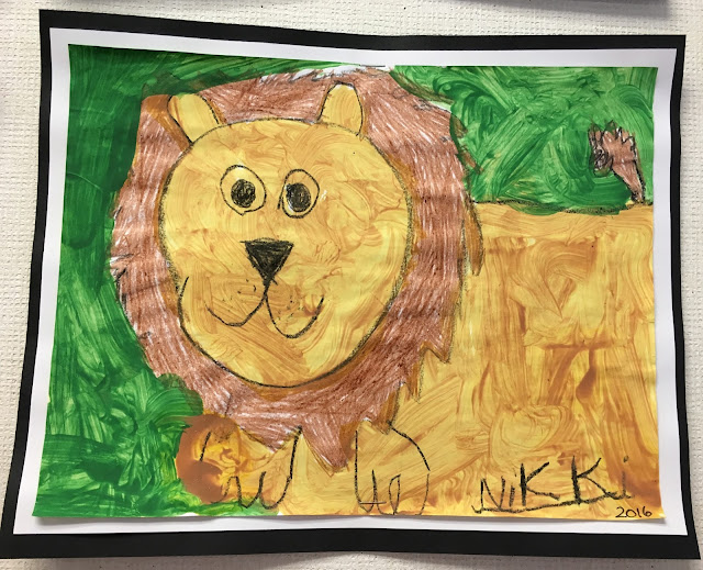 Mixed Media Lion- crayons and paint