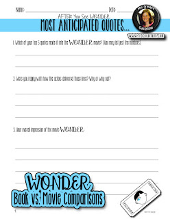 Wonder book and movie favorite quotes activities  www.traceeorman.com