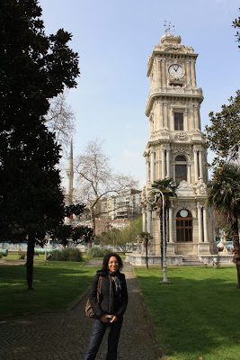 Clock tower in Dolmabahçe Gardens in Istanbul