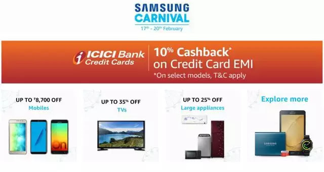 Samsung Carnival on Amazon: Get discounts up to Rs 8,700
