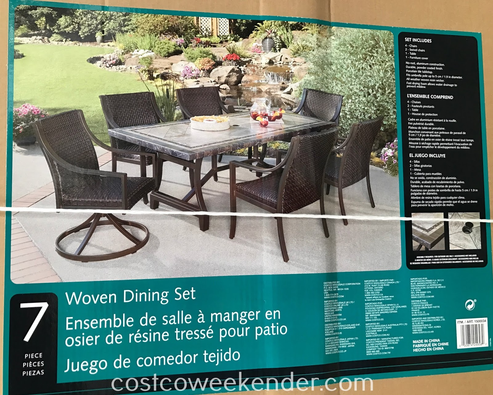 Costco 1500034 - Agio 7-piece Woven Dining Set: great for any backyard or patio