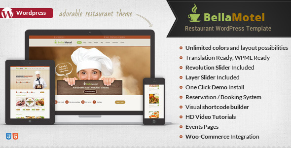 Free Download Bella Motel V1.5 - Restaurant & Bakery WordPress Theme