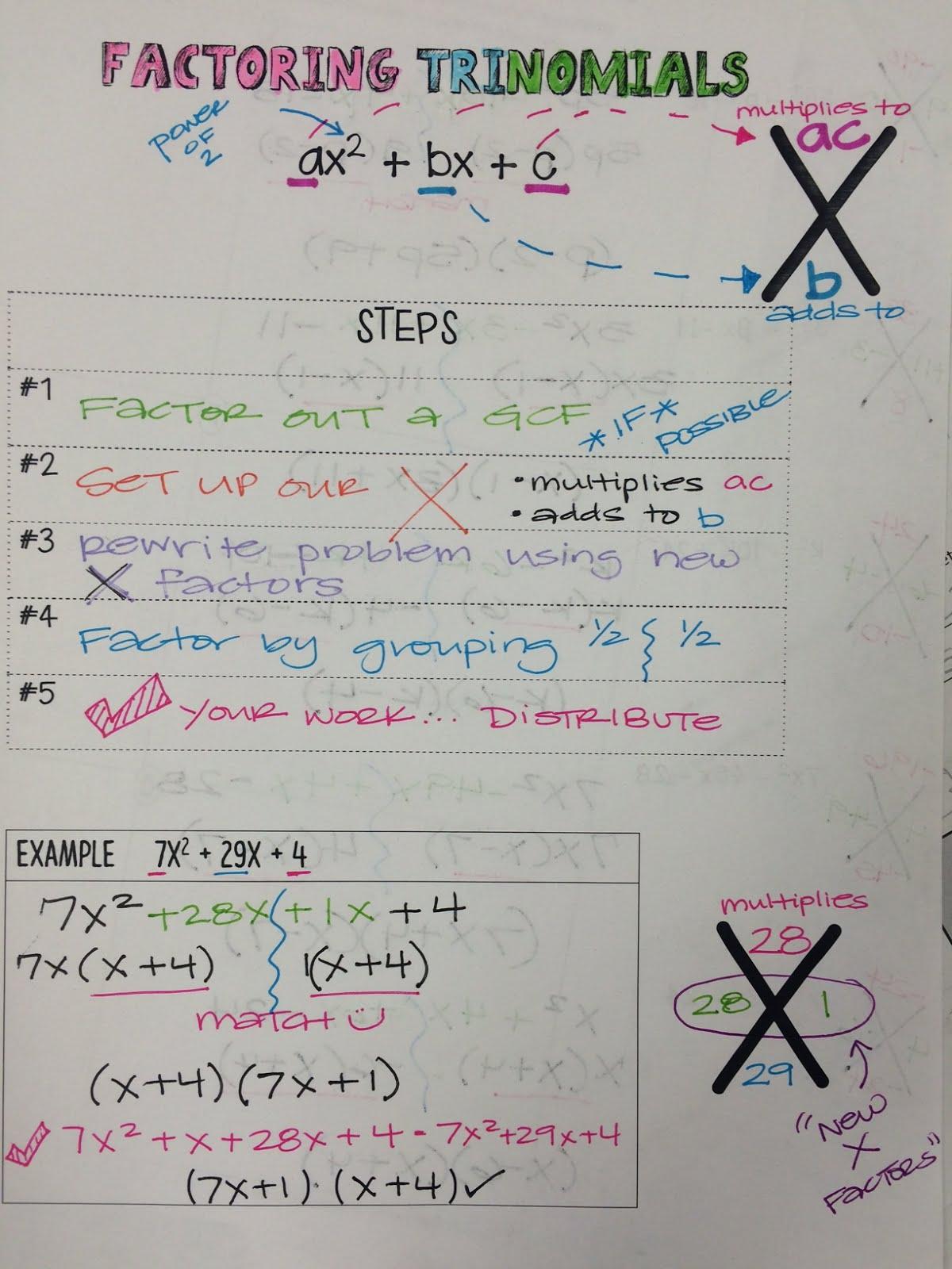 Mrs Shaw S Site Factoring Trinomials