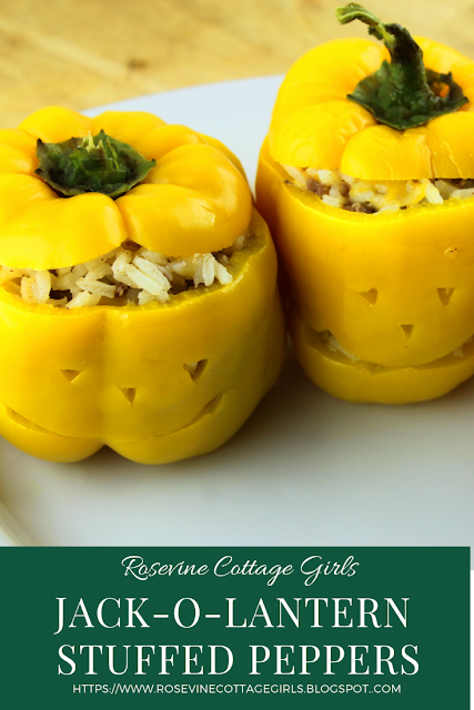 Photo of white platter with yellow bell peppers with Jack O lantern faces cut out of them | Fall Food | RosevineCottageGirls.com | Fall Recipe, Stuffed Peppers, Jack-O-Lantern
