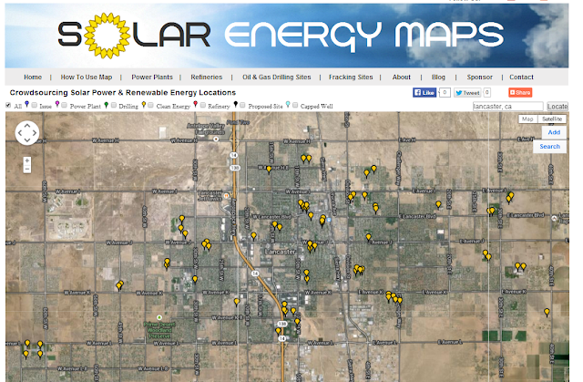 Map of 25 Lancaster, CA Schools With Solar Energy Parking Lot Shades and Roofs