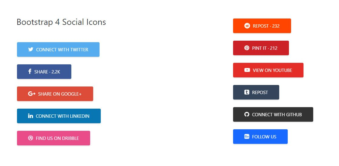 Bootstrap 4 social Icons