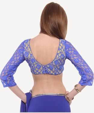 purple colour lace back side blouse and quarter sleeve