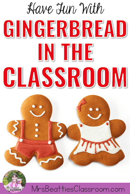"Photo of gingerbread cookies with text, ""Have Fun With Gingerbread in the Classroom."""