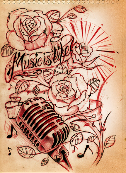 Microphone Music Flower Tattoos