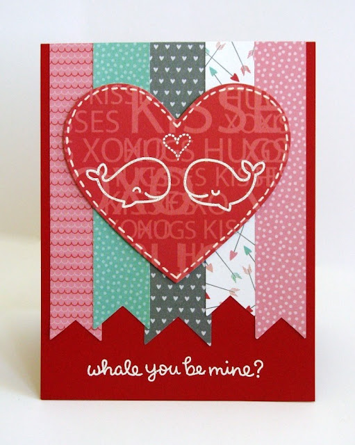 Lawn Fawn & Pebbles Whale You Be Mine? Valentine's Day card by Mendi Yoshikawa
