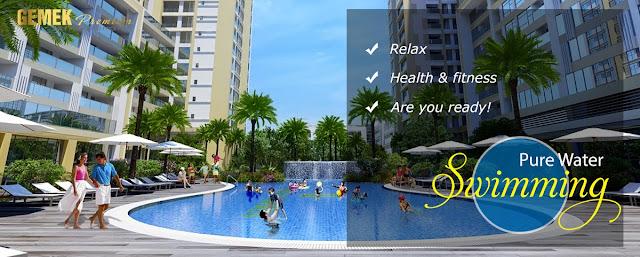 Bể bơi ngoài trời cao cấp tại chung cư Gemek Premium