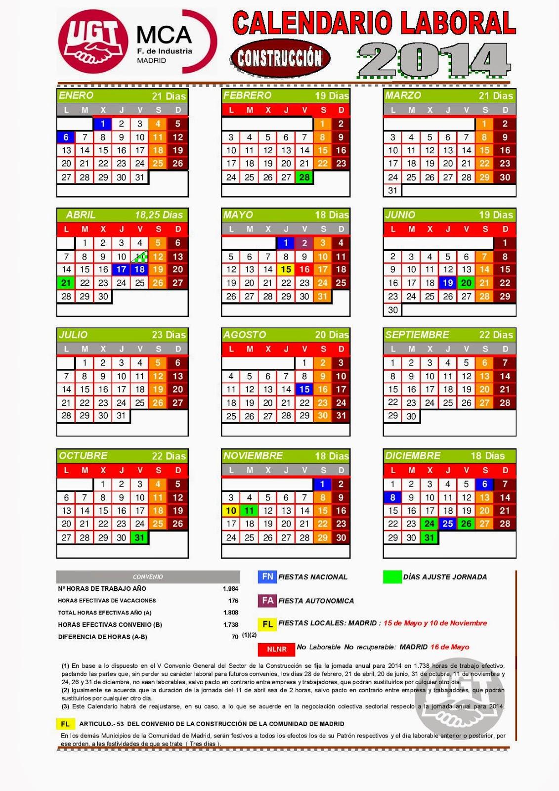 Comit acciona centro calendario laboral 2014 construcci n - Empresas de construccion madrid ...