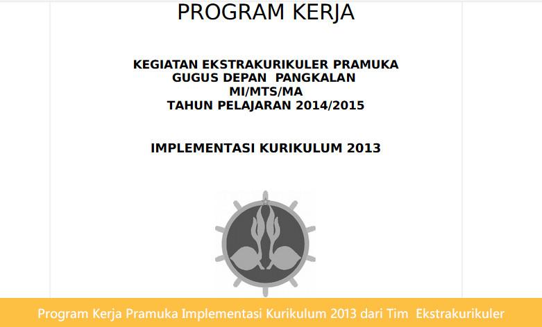 Program Kerja Pramuka Implementasi Kurikulum 2013